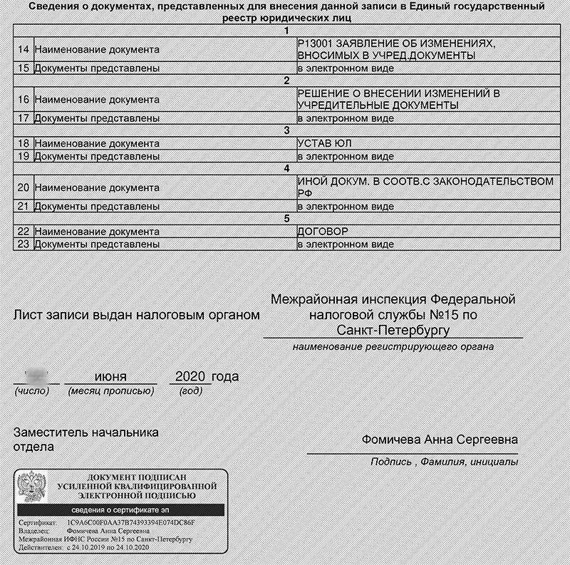 Список документов, поданных в налоговую для регистрации смены юр адреса