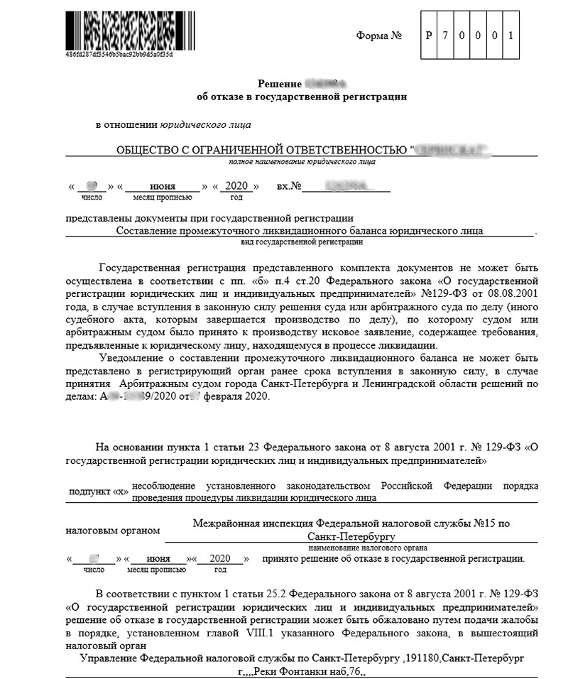 отказ в ликвидации ооо из-за судебного процесса